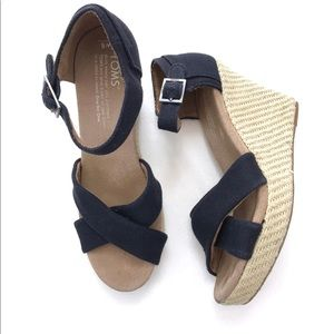TOMS Black Strappy Wedges